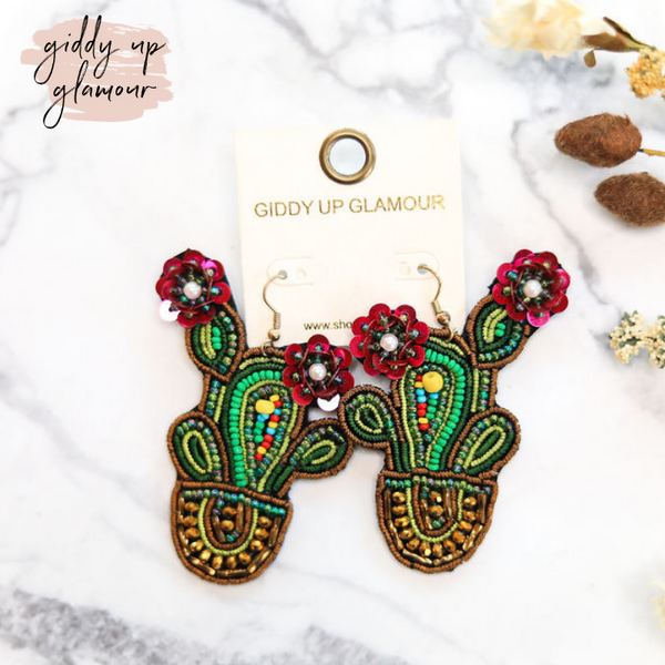 Embroidered Cactus Blossom Earrings in Gold Pot