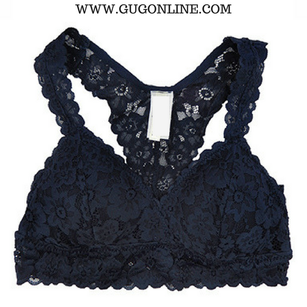 Racey Lacey Lace Bralette in Navy Blue