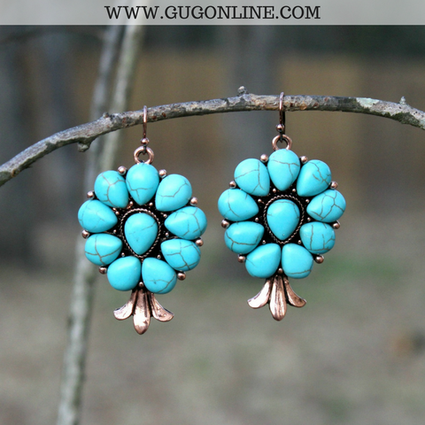 Finest Flowers Earrings in Turquoise and Cooper