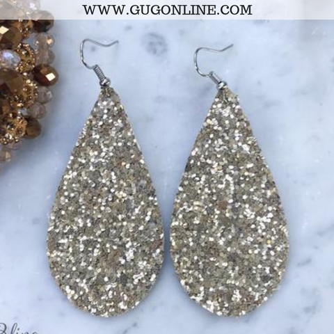 Glitter Teardrop Earrings in Sandstone