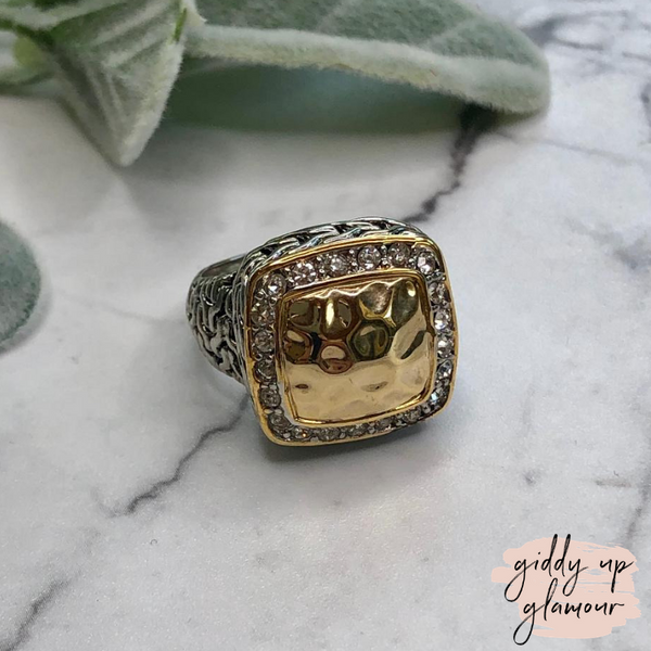 Designer Inspired | Two Toned Square Hammered Ring with Crystals