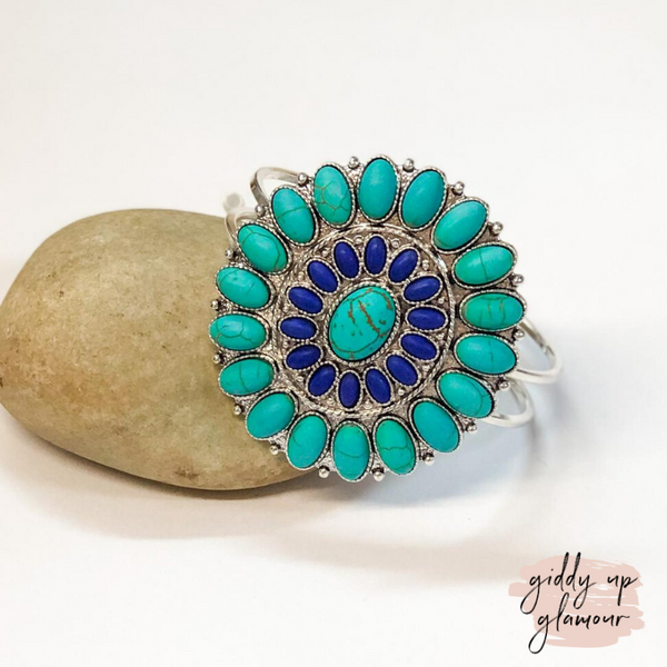Turquoise and Blue Stone Circle Concho Hinge Bracelet