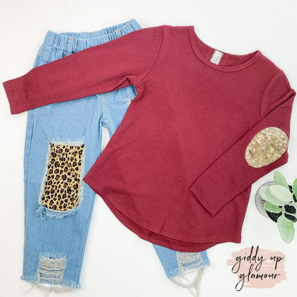 Children's | Touch of Sparkle Maroon Blouse with Gold Sequin Elbow Patches