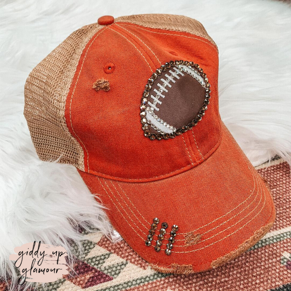 Brown Swarovski Crystal Football Ball Cap in Rust Red