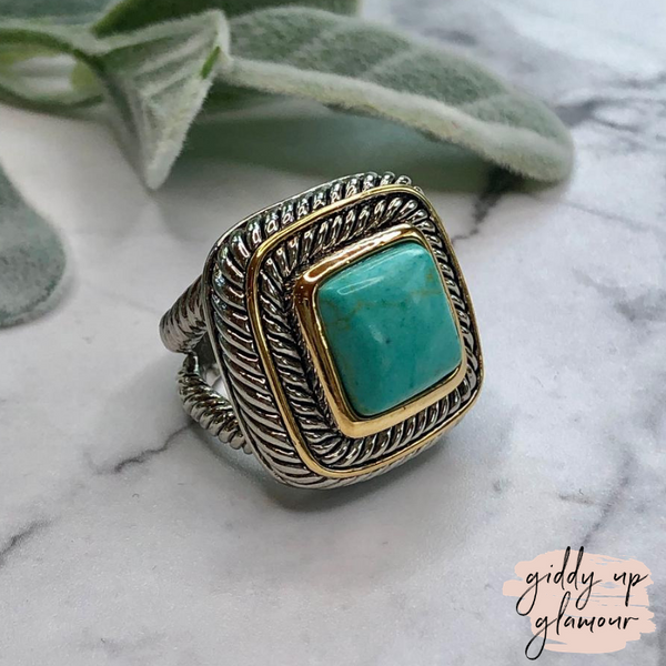 Designer Inspired | Large Two Toned Ring with Turquoise Stone