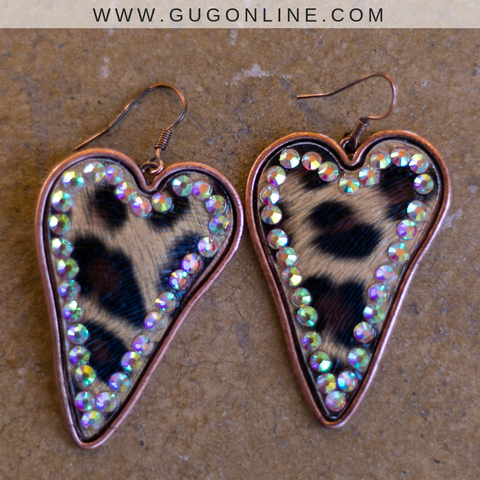 Leopard Heart Earrings with AB Crystals in Copper
