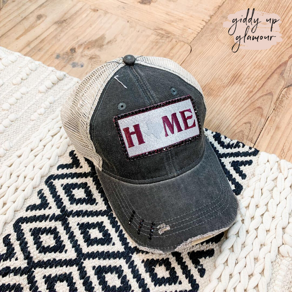 Texas Home Distressed Baseball Cap in Grey