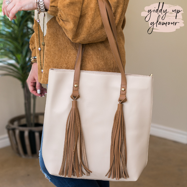 Going Everywhere Tote Bag with Fringe Tassels in Ivory