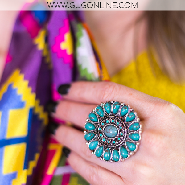 Turquoise Oval Concho Ring