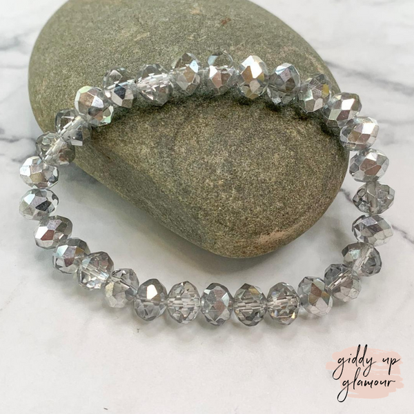 Crystal Beaded Stacker Bracelet in Clear and Silver