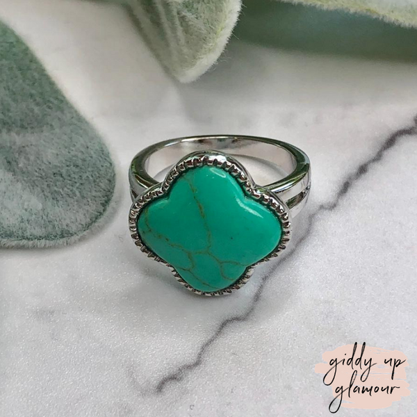 Designer Inspired | Turquoise Clover Fashion Ring