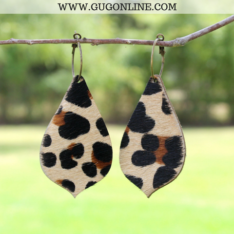 Leopard Hair On Hide Leather Earrings