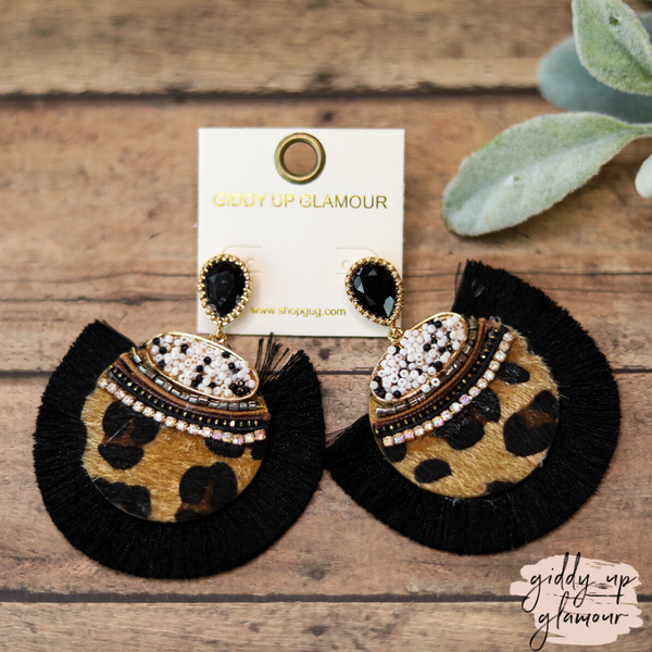 Black Fan Circle Beaded and Crystal Earrings in Leopard