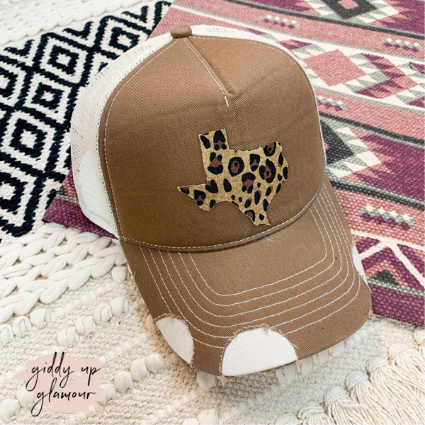My Texas Distressed Ball Cap in Brown