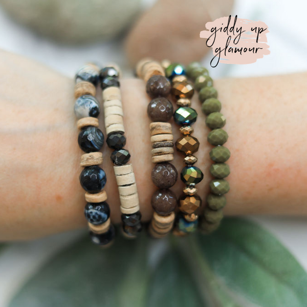 5 Piece Bracelet Set in Forrest Green