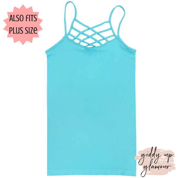 Crossing The Limits Strappy Camisole in Aqua Turquoise