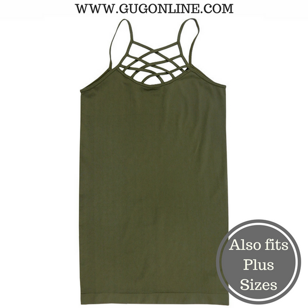 Crossing The Limits Strappy Camisole in Olive Green