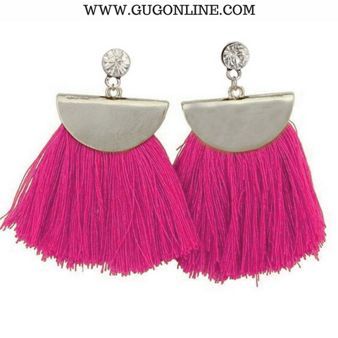 Silver Aruba Fan Tassel Earrings in Hot Pink