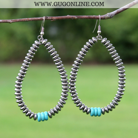 Silver Beaded Hoop Earrings with Turquoise Accent