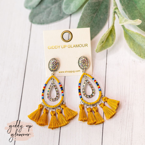 Beaded Layered Teardrop Tassel Drop Earrings in Mustard Yellow