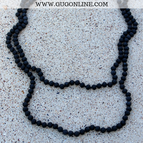 60 Inch Long Layering 8mm Crystal Strand Necklace in Black Matte