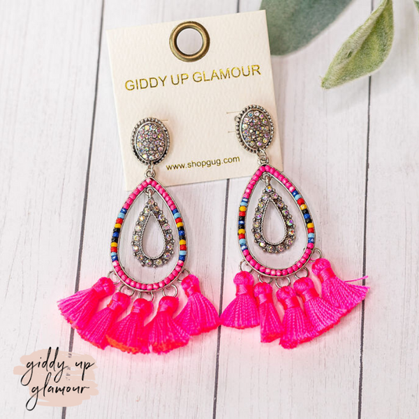 Beaded Layered Teardrop Tassel Drop Earrings in Hot Pink