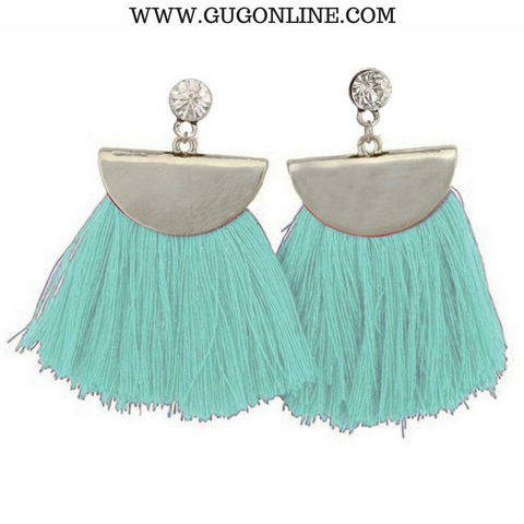 Silver Aruba Fan Tassel Earrings in Mint
