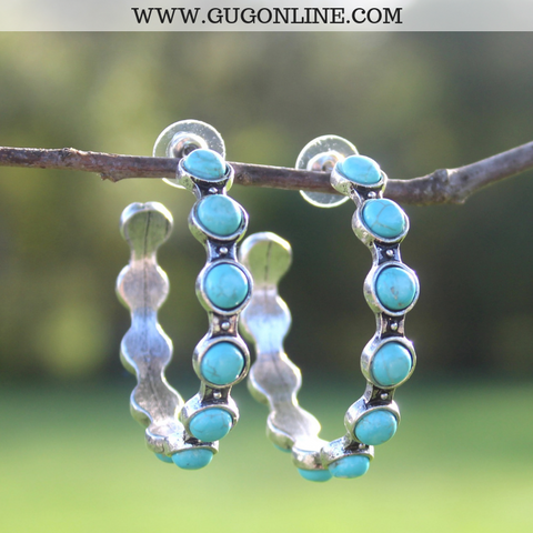 Silver Hoop Earrings with Round Turquoise Stones