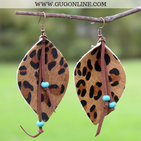 Leopard Print Pinched Teardrop Earrings with Turquoise Accents