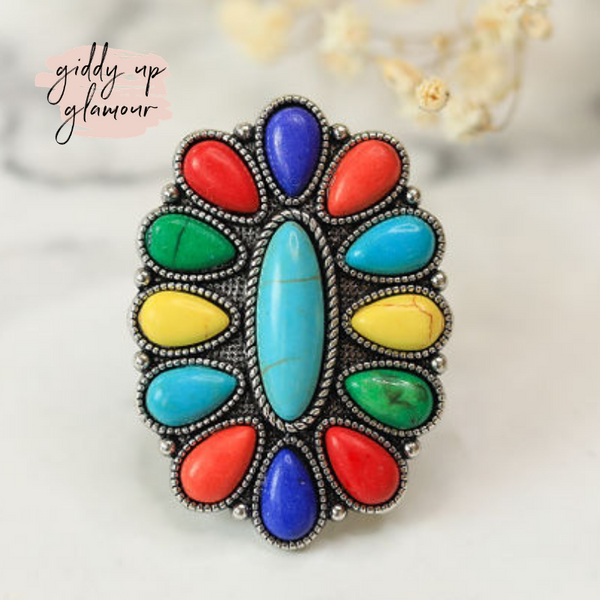 Rainbow Stone Flower Ring