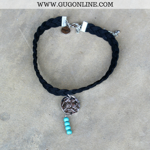 Braided Leather Choker with Silver Native American Charm and Turquoise Beads in Black
