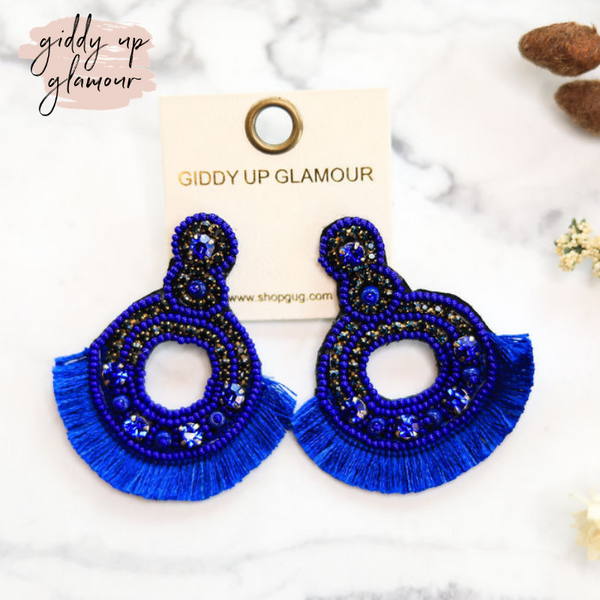 Seed-Bead and Crystal Statement Earrings with Fringe in Royal Blue
