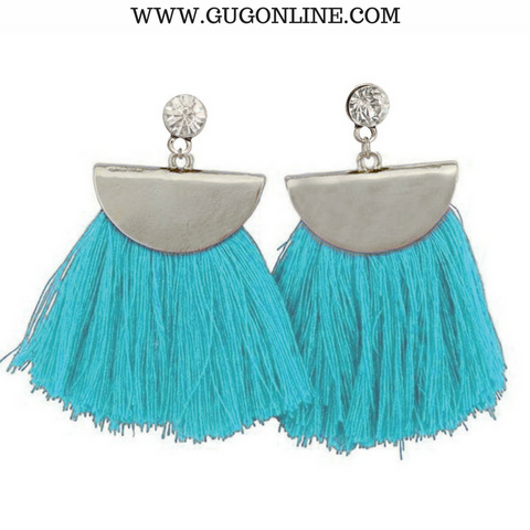 Silver Aruba Fan Tassel Earrings in Teal