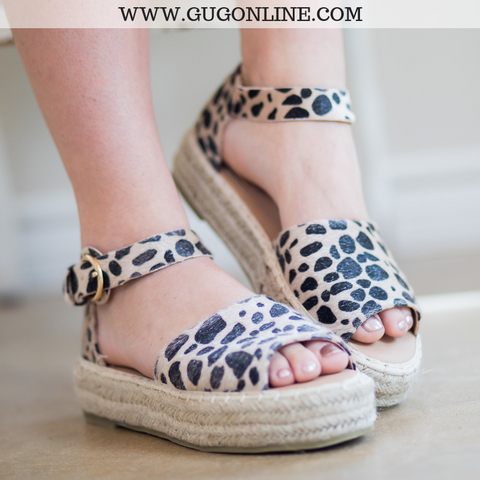 Not A Drille Platform Espadrille Sandals in Leopard