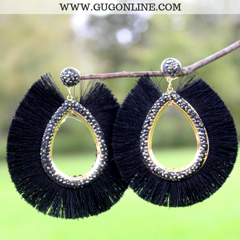 Crystal Teardrop Statement Earrings with Fringe Tassel Trim in Black