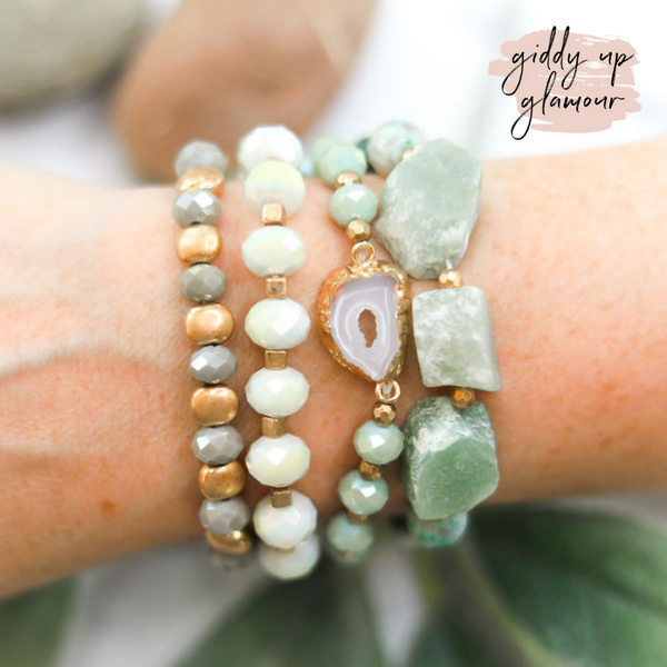 4 Piece Crystal Bracelet Set in Mint