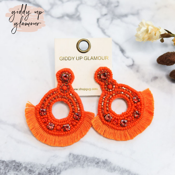 Seed-Bead and Crystal Statement Earrings with Fringe in Orange