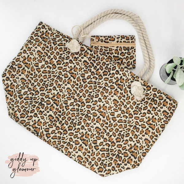 Take Me Places Two Piece Leopard Tote Bag