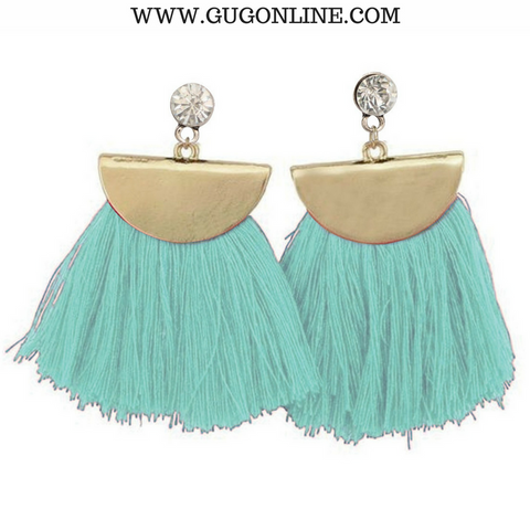 Gold Aruba Fan Tassel Earrings in Mint