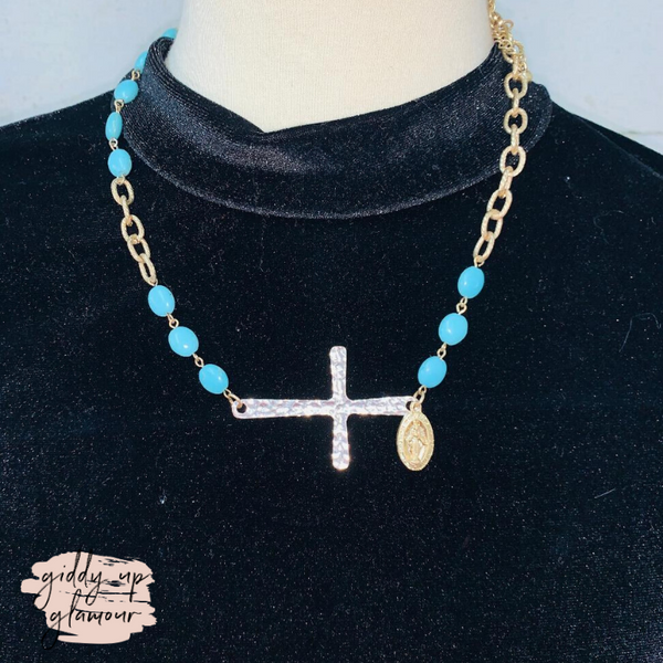 Gold and Turquoise Bead Necklace with Side Silver Cross