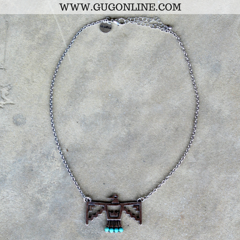 Silver Thunderbird Necklace with Turquoise Stones