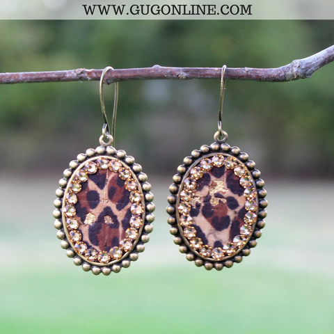 Pink Panache Small Bronze Oval Earrings with Leopard and Topaz Crystals