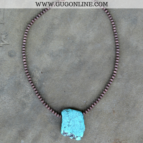 Cooper Beaded Necklace with Flat Turquoise Stone