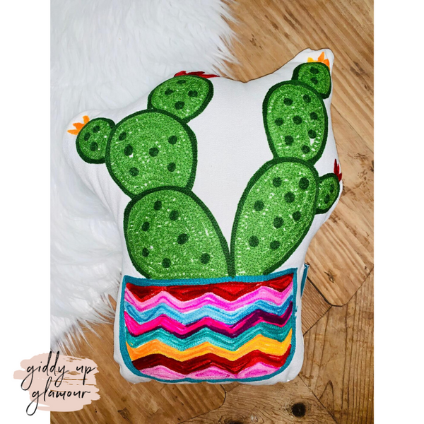 Karma Living | I Love My Rainbow Cactus Pillow