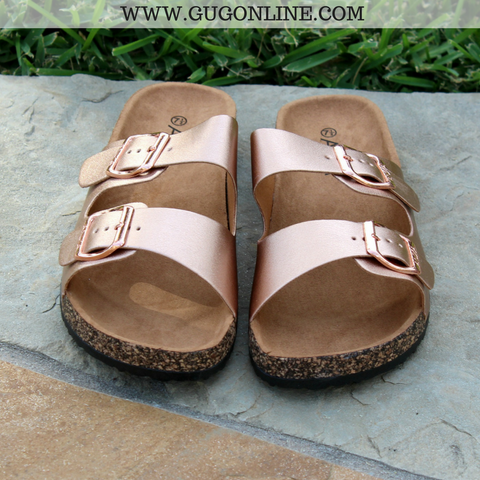 Summer Perfection Slide In Sandal in Rose Gold