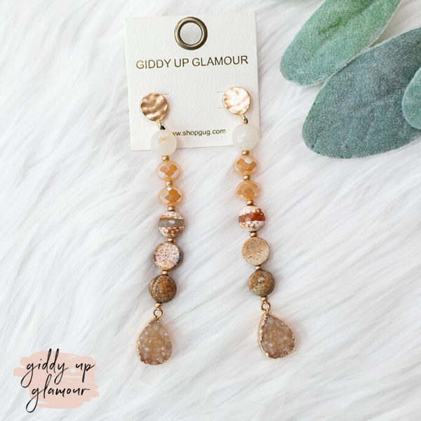 Druzy Stone Dangle Earrings in Neutral Tones