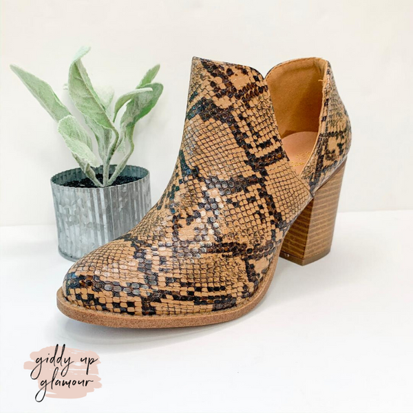 Notice It Now Snakeskin Booties in Brown