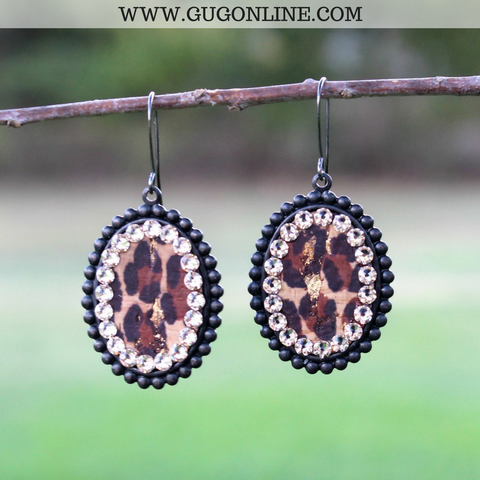 Pink Panache Small Black Matte Oval Earrings with Leopard and Topaz Crystals