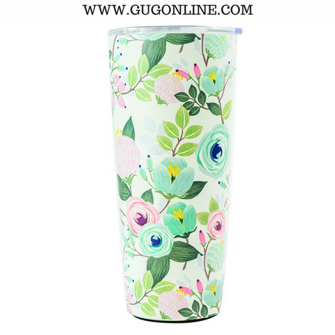 Peach Floral Large Stainless Tumbler