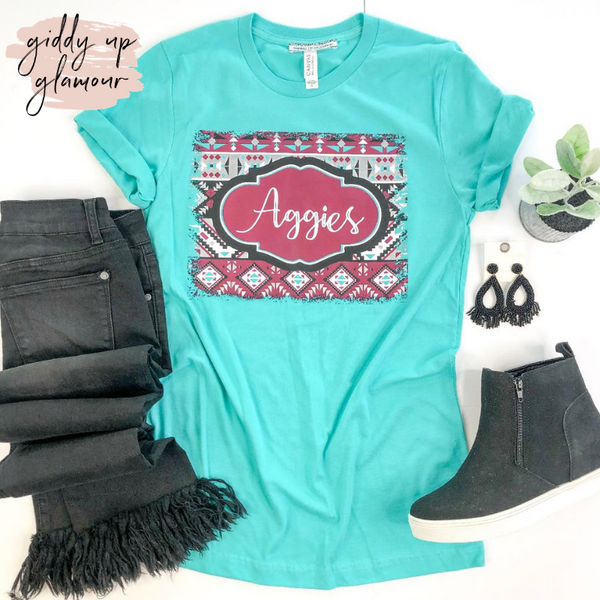 Aggie Game Day | Aggies on Aztec Print Background Short Sleeve Tee Shirt in Turquoise